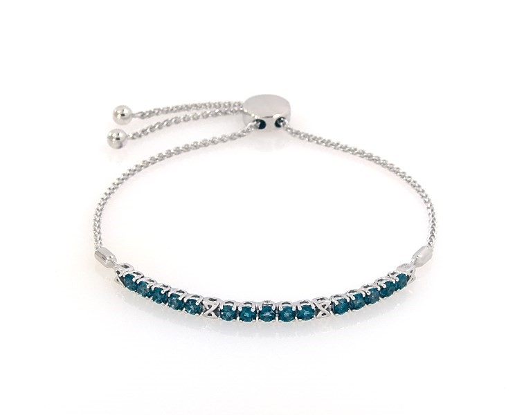 3aa22a6aa70278 Blue Topaz Bolo Bracelet Diamond Accents 10K White Gold - 491203408 ...
