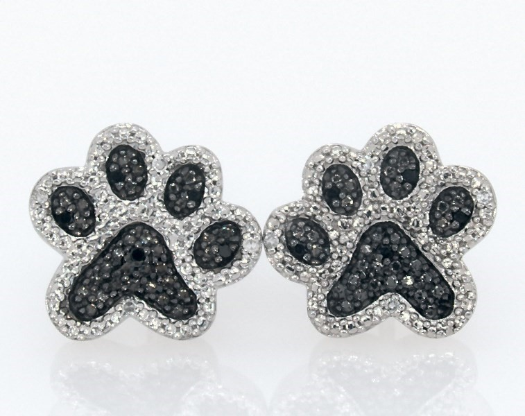 Paw Print Earrings Black Diamonds Sterling Silver Kay