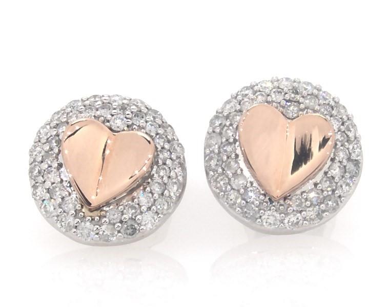Signature Heart Diamond Earrings 1 2 Ct Tw 10k Two Tone Gold Kay