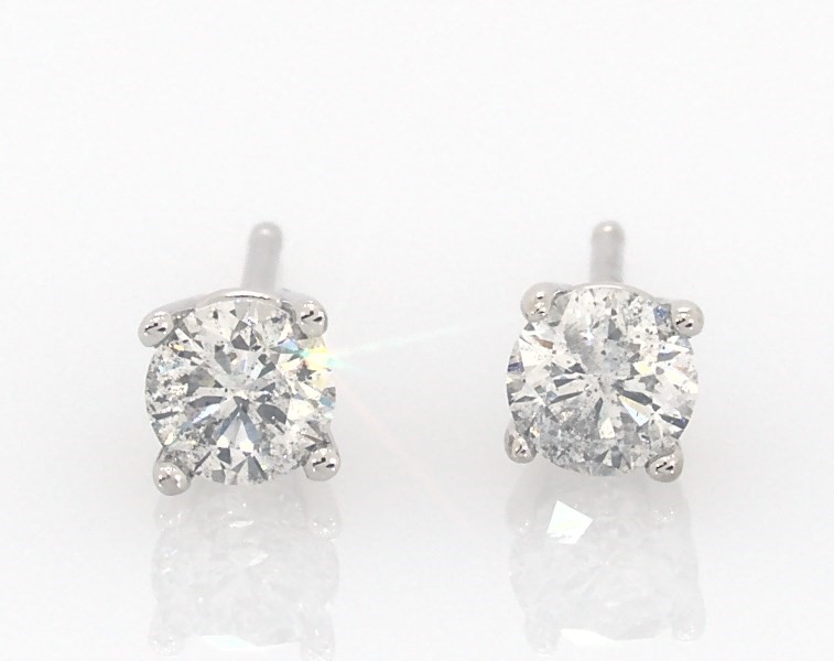 Diamond Earrings 1 2 Ct Tw Round Cut 14k White Gold Kay