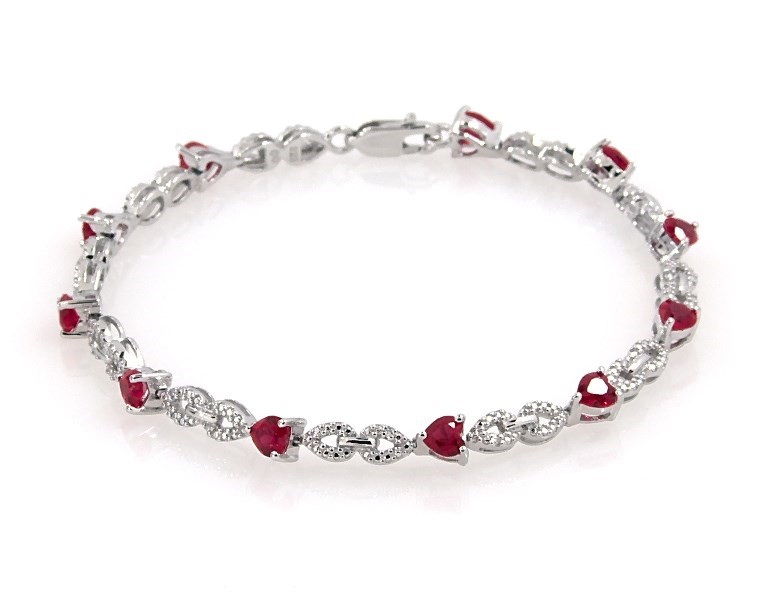 3e5d6c071 Lab-Created Ruby Bracelet with Diamonds in Sterling Silver ...