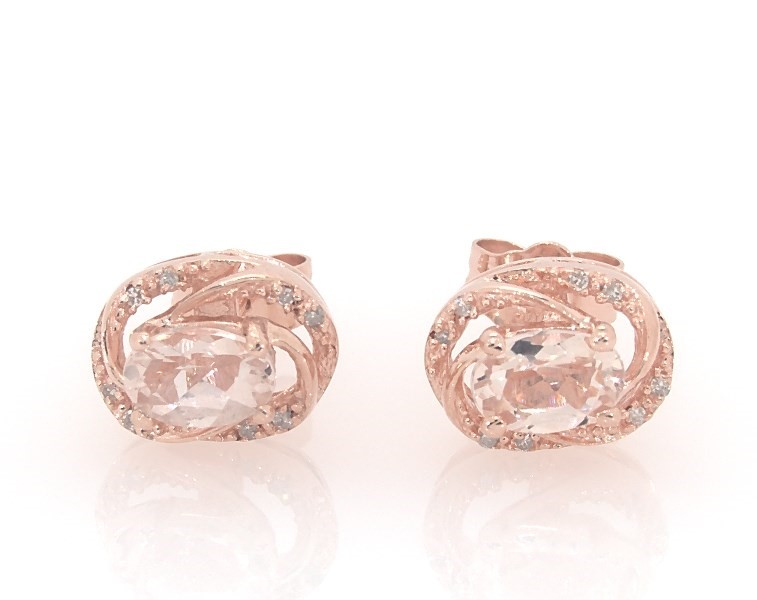 Oval Morganite And Diamond Accent Orbit Frame Stud Earrings In Sterling Silver With 14k Rose Gold Plate Zales
