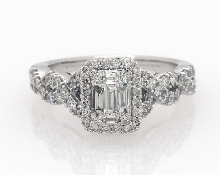 Diamond Engagement Ring 7 8 Ct Tw Baguette Round 14k White Gold
