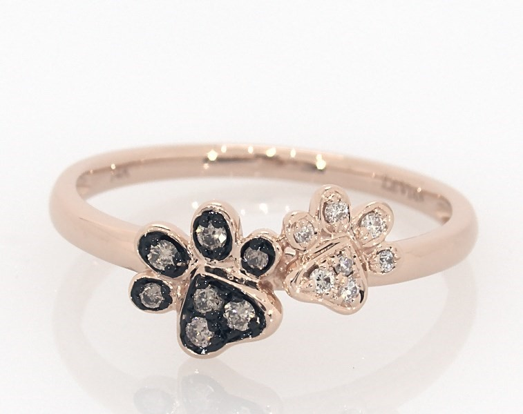 0da4a0ddb Le Vian Paw Prints Ring 1/15 ct tw Diamonds 14K Strawberry Gold ...