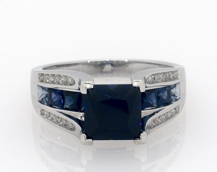 852f5b3ef Lab-Created Sapphire Ring 1/8 ct tw Diamonds 10K White Gold - 133496404 -  Kay
