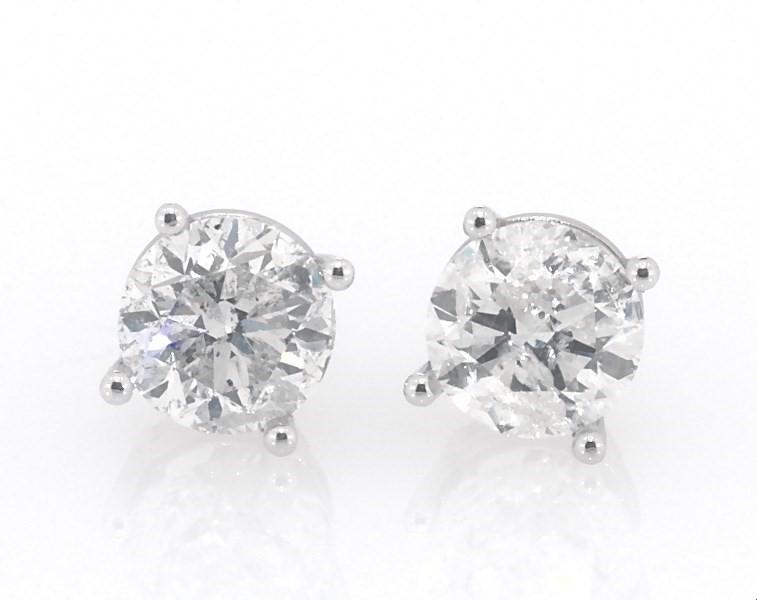 Diamond Earrings 2 Ct Tw Round Cut 14k White Gold Kay