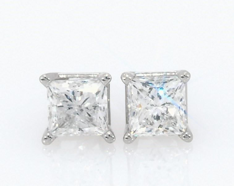 Diamond Earrings 1 2 Ct Tw Princess Cut 14k White Gold Kay