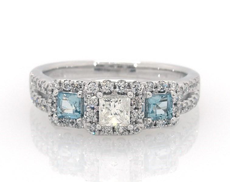 194504724 Aquamarine Engagement Ring 5/8 ct tw Diamonds 14K White Gold ...
