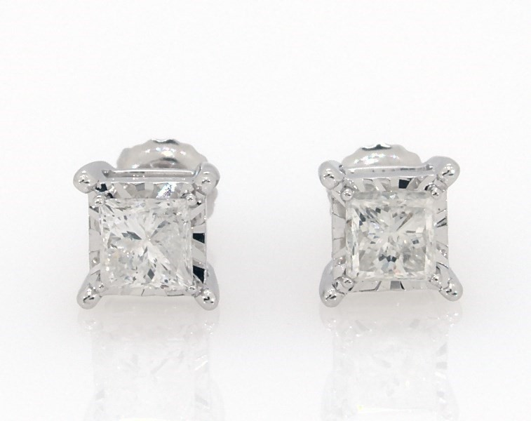 5d25d1d861 Radiant Reflections 1 ct tw Diamonds 10K White Gold Earrings ...