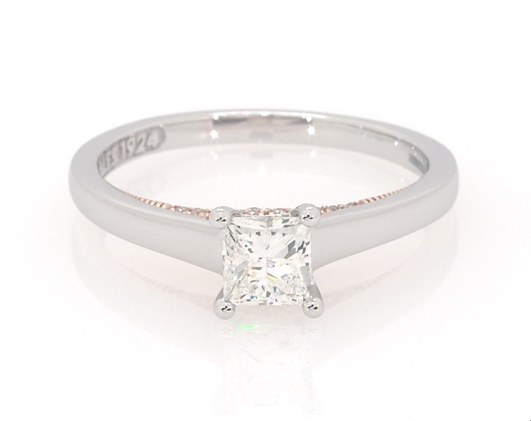 Zales Private Collection 3 4 Ctw Certified Colourless Princess Cut Diamond Engagement Ring In 14k Two