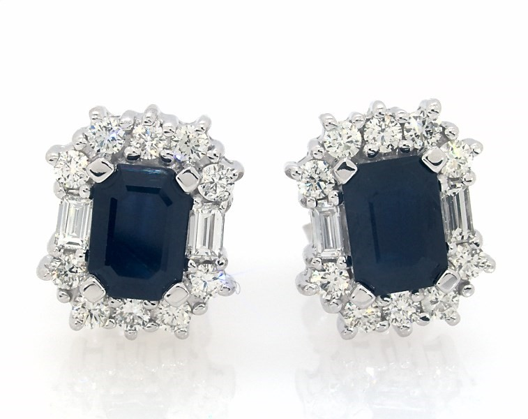 07d4121a0 Natural Sapphire Earrings 3/4 ct tw Diamonds 14K White Gold ...