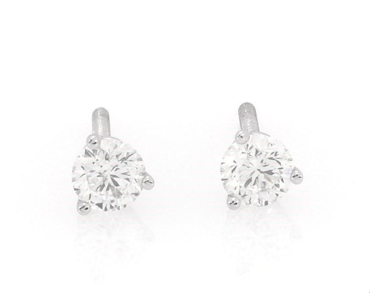 Leo Diamond Earrings 1 2 Ct Tw Round Cut 14k White Gold Kay
