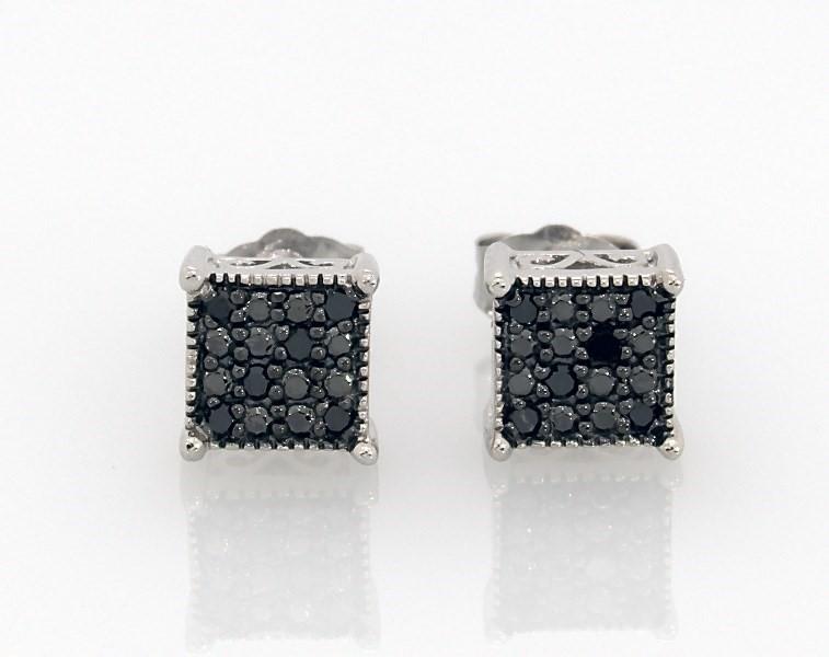 Black Diamond Earrings 1 10 Ct Tw Round Cut Sterling Silver Jared
