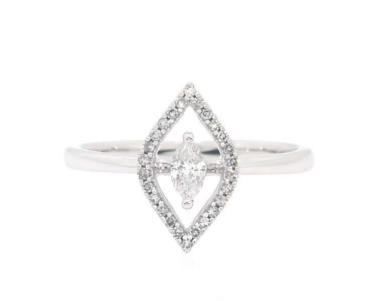 Diamond Halo Ring 1/4 carat tw Marquise/Round 10K White Gold|Jared