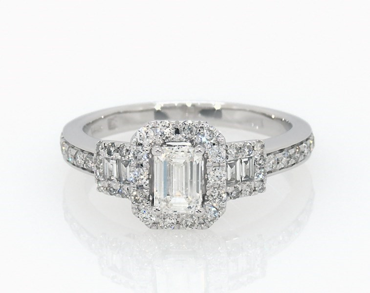 c1d86da6d1f408 Diamond Engagement Ring 7/8 ct tw Emerald-cut 14K White Gold ...