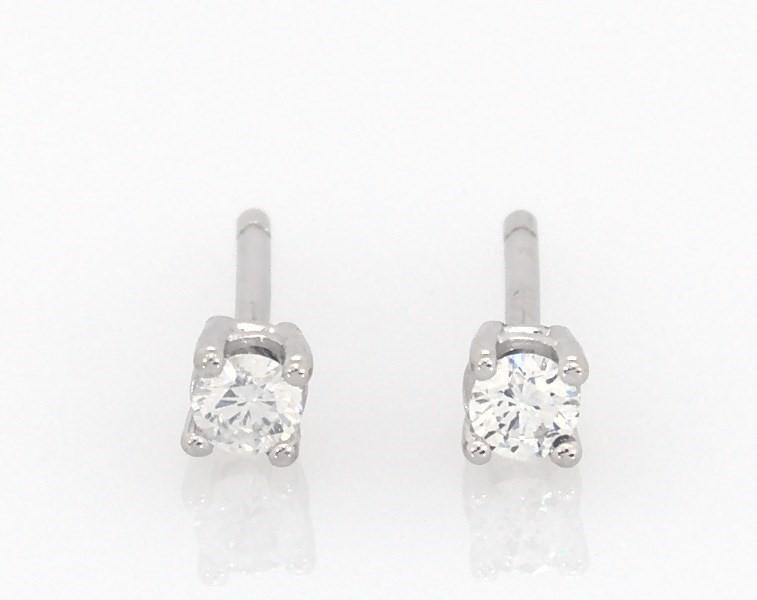 e8448da4c Diamond Solitaire Earrings 1/10 ct tw Round-Cut 14K White Gold ...