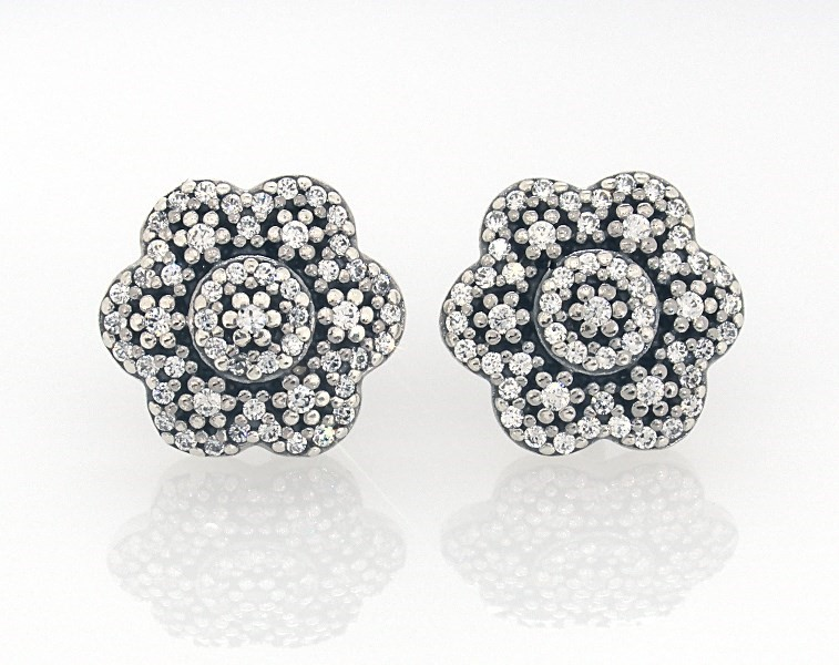 86dcc85fc PANDORA Earrings Crystalized Floral Sterling Silver - 802175000 - Jared