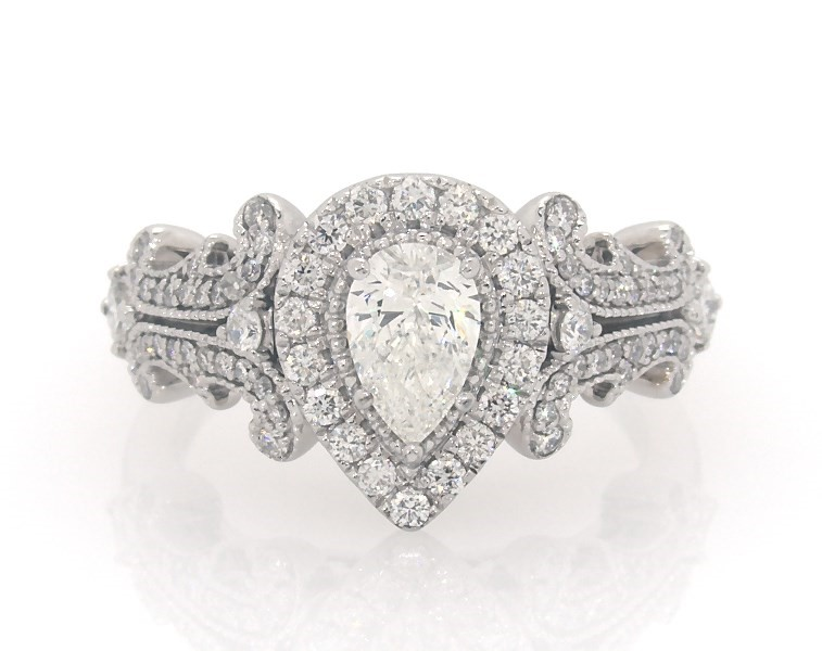 Vera Wang Love Collection 1 Ct Tw Pear Shaped Diamond Frame Engagement Ring In 14k White