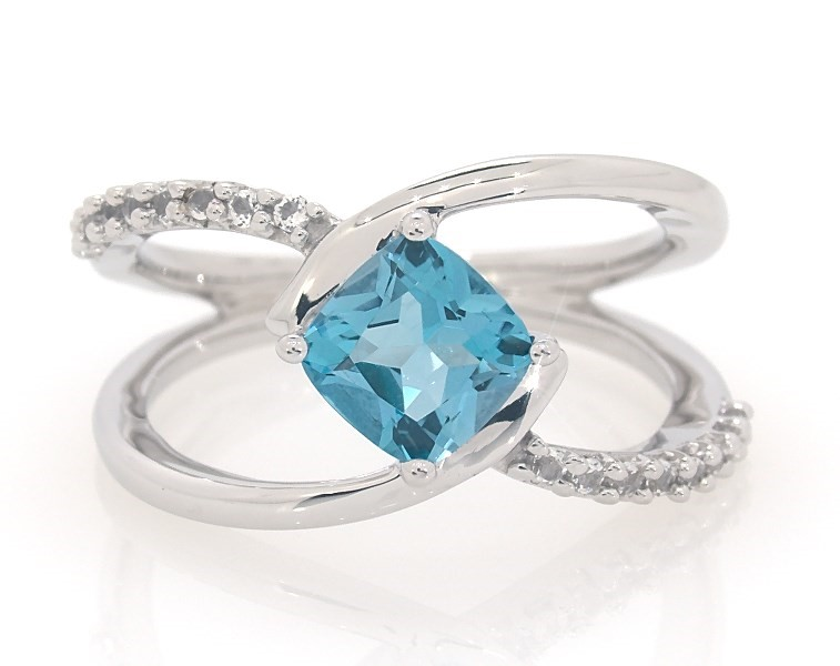 05364acce Blue Topaz Ring White Topaz Accents Sterling Silver - 491206203 - Jared