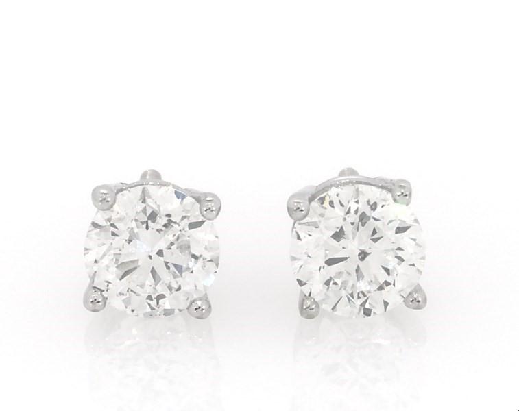 Certified Diamond Earrings 1 4 Ct Tw Round Cut 18k White Gold Kay